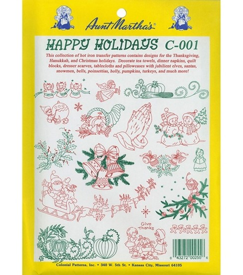 Aunt Martha\u0027s Transfer Pattern Collections Happy Holidays