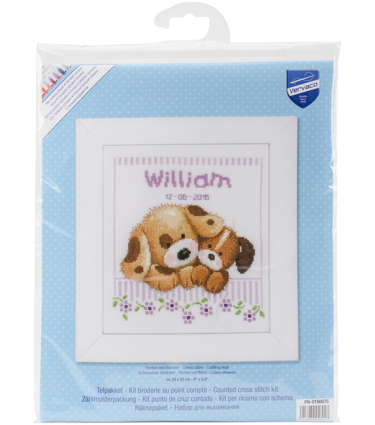 Vervaco 8\u0027\u0027x8.8\u0027\u0027 Aida Counted Cross Stitch Kit-Cuddling Dogs Record
