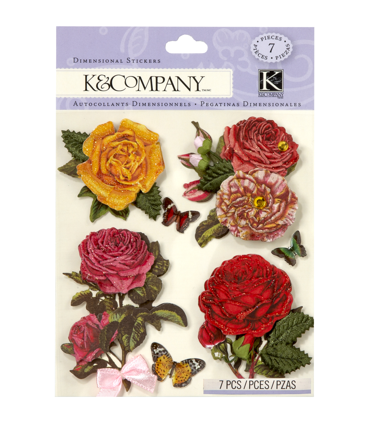 K&Company 7 pk Roses Embellishment Dimensionals Stickers