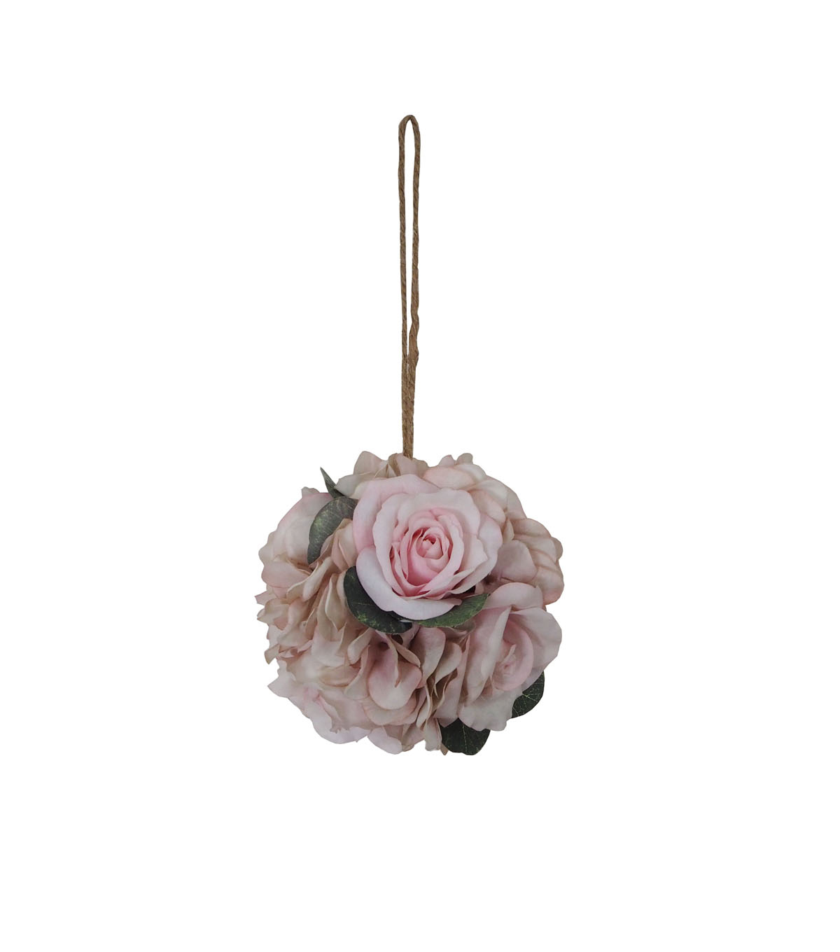 Blooming Autumn Rose & Hydrangea Kissing Ball-Pink