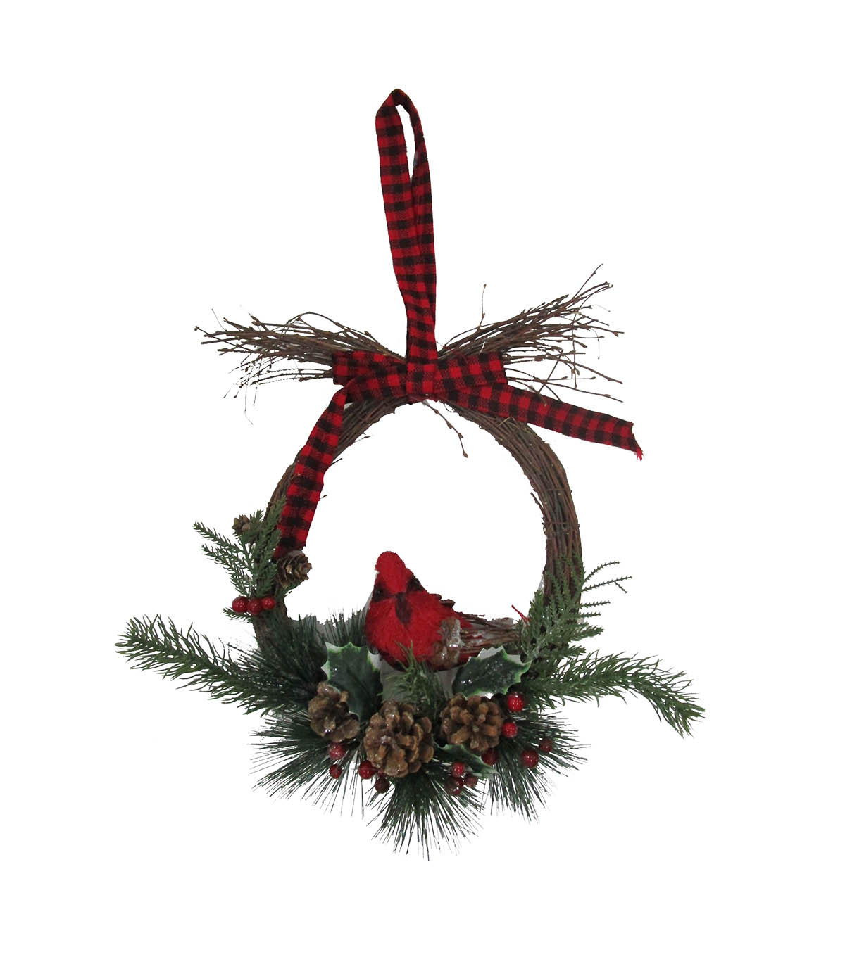 Blooming Holiday Christmas Oval Greenery & Cardinal Wreath