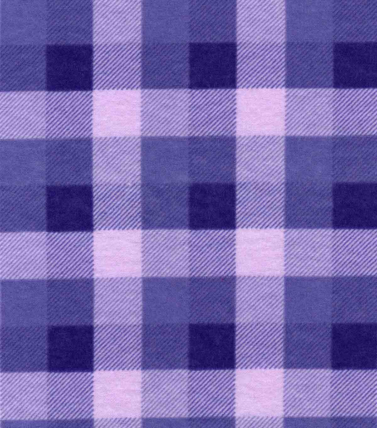 Snuggle Flannel Fabric -Purple Buffalo Checks
