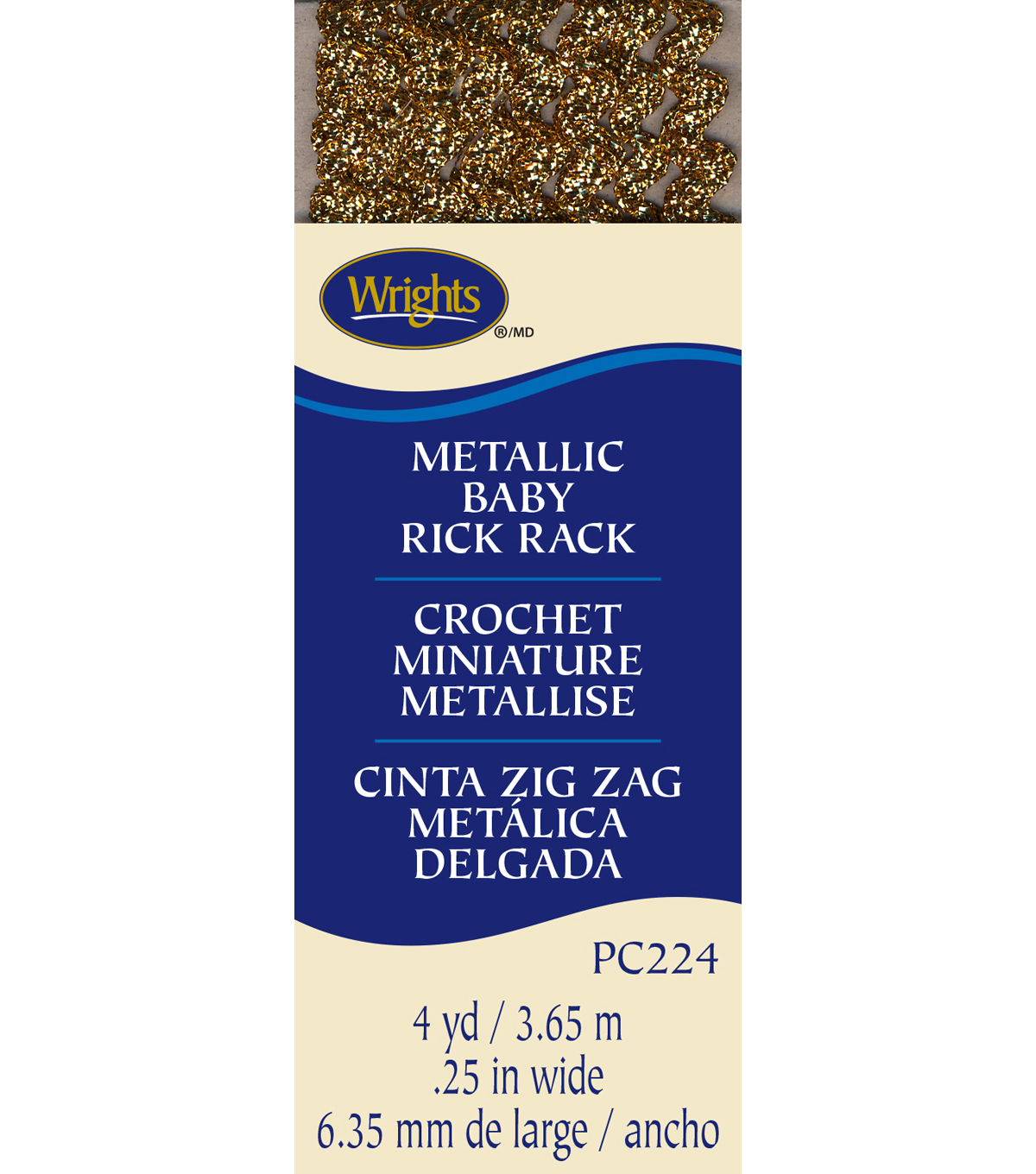 Wrights Baby Metallic Rick Rack-1/4\u0022W x 4yds Gold