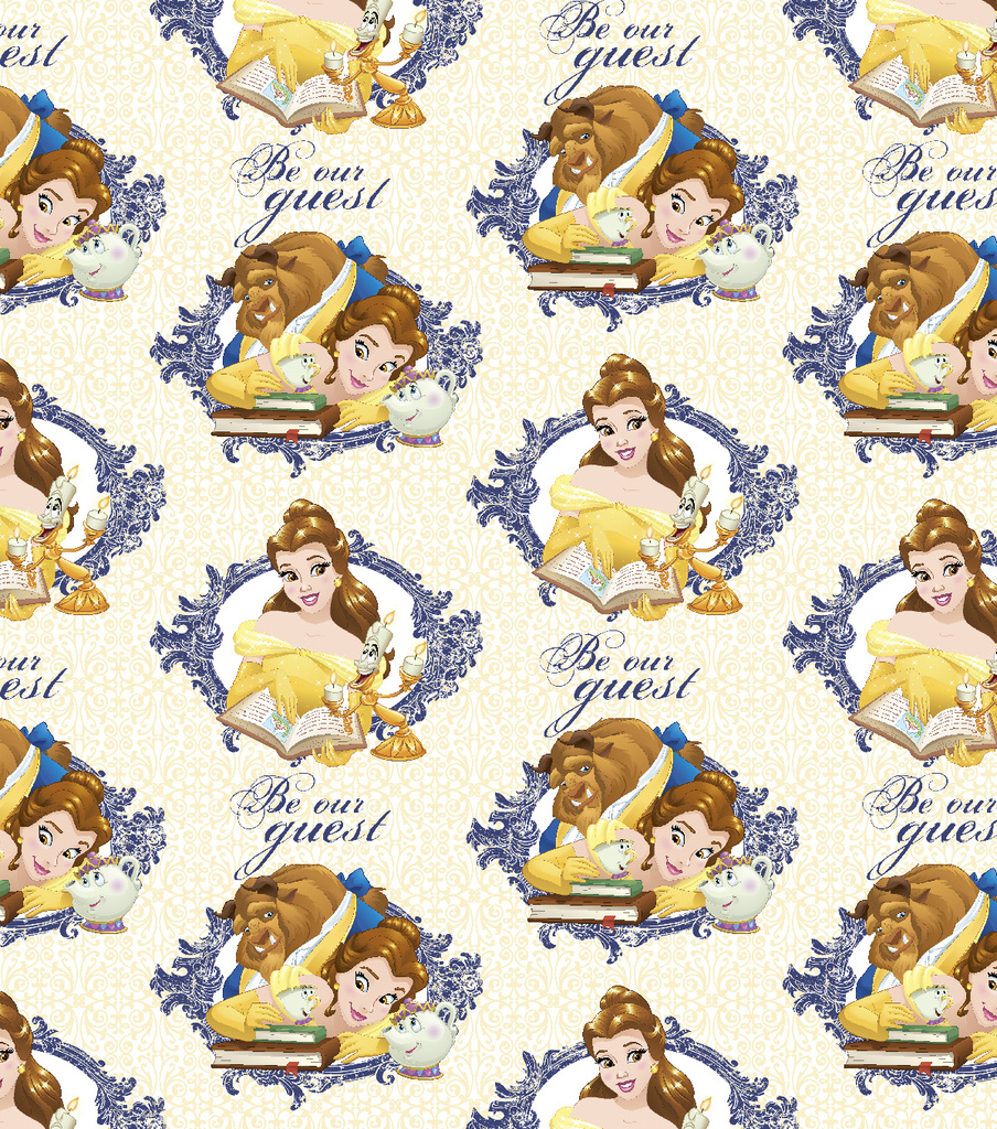 Disney Beauty and the Beast Cotton Fabric -Be Our Guest
