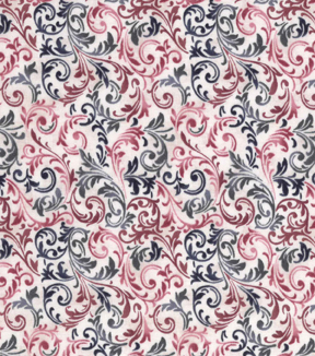 Vintage Cotton Fabric 43\u0027\u0027-Blue & Red Scrolling Vines