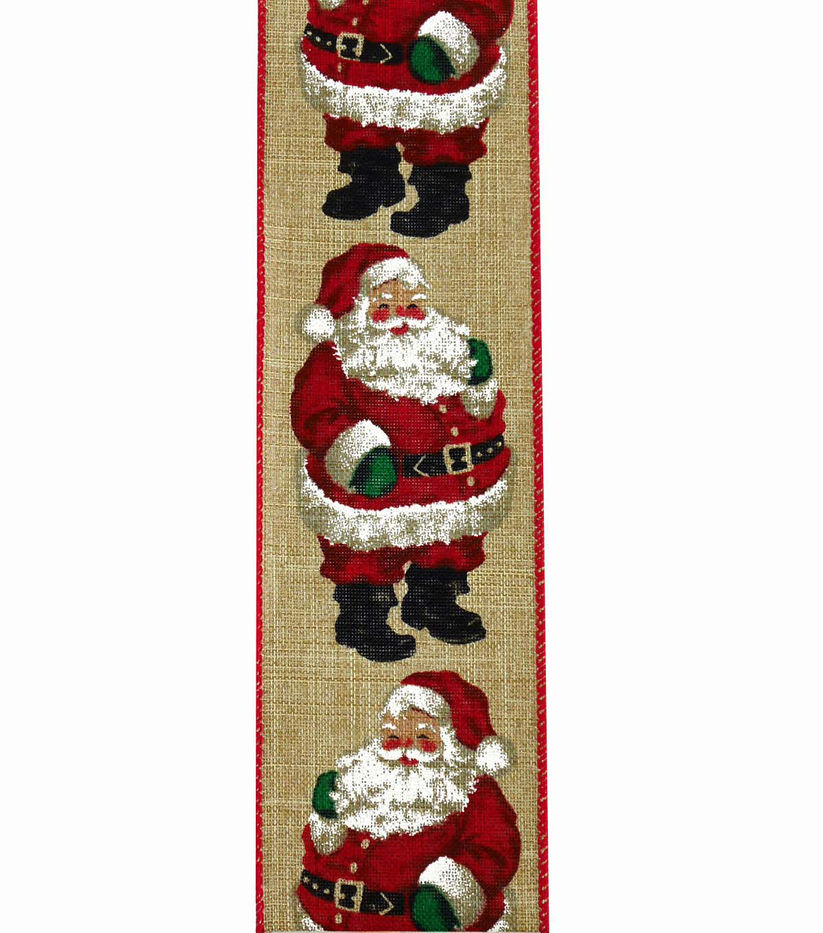 Maker\u0027s Holiday Christmas Ribbon 2.5\u0027\u0027x25\u0027-Santa on Natural