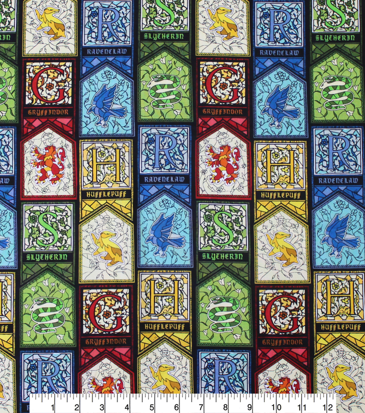 Harry Potter Cotton Fabric 44\u0027\u0027-Stained Glass Houses