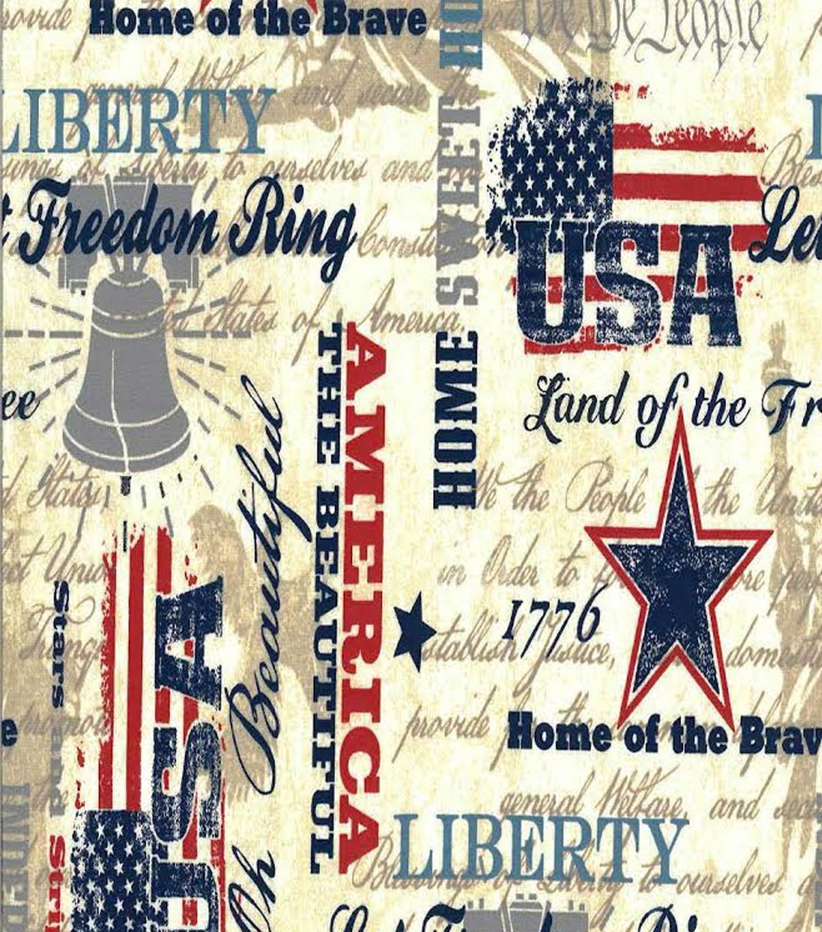 Patriotic Cotton Fabric -Faded Glory