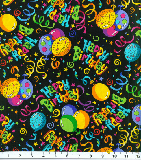 Novelty Cotton Fabric -Happy Birthday on Black
