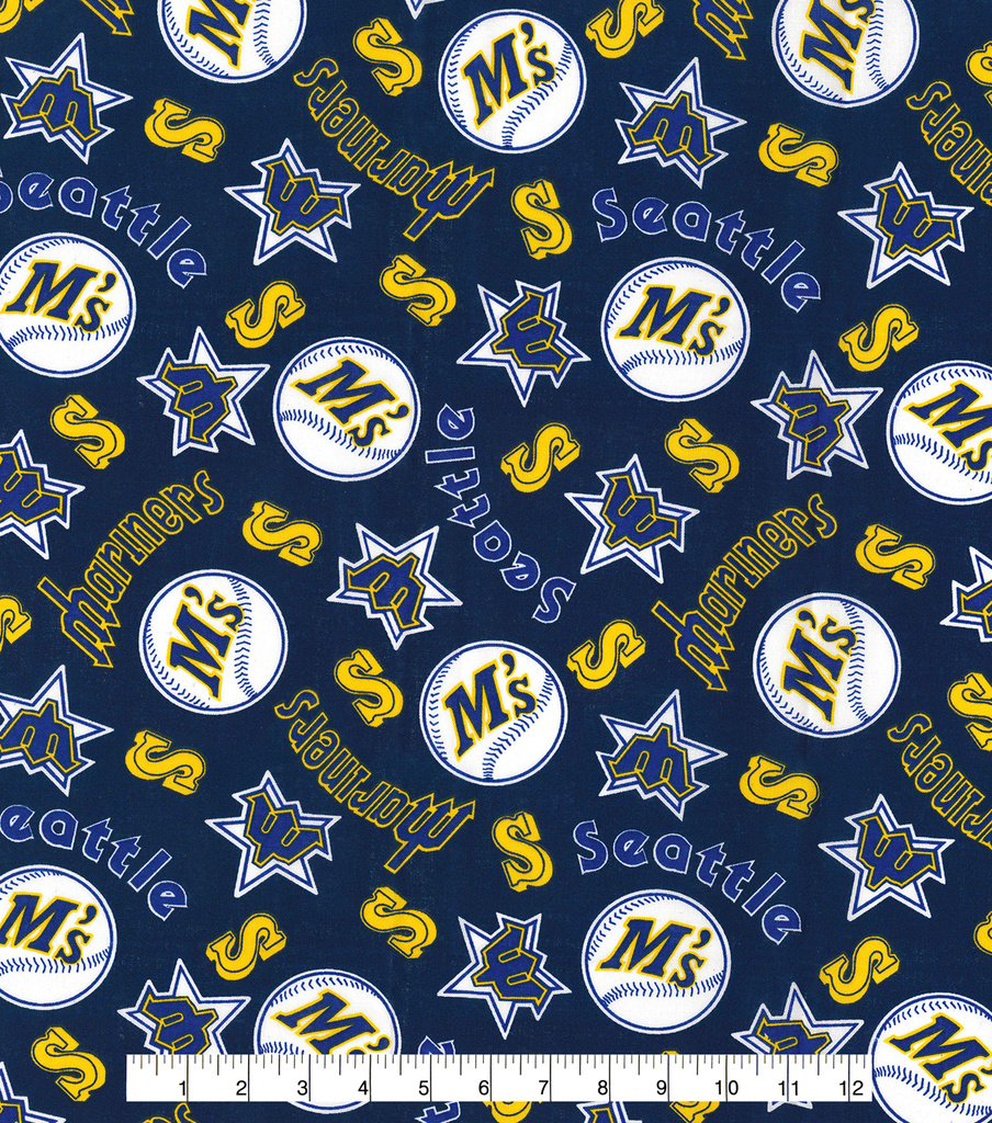 Seattle Mariners Cotton Fabric -Navy Cooperstown