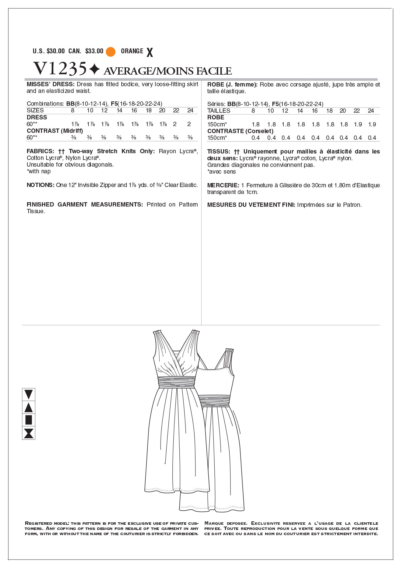 Mccall Pattern V1235 Bb (8-10-1-Vogue Pattern