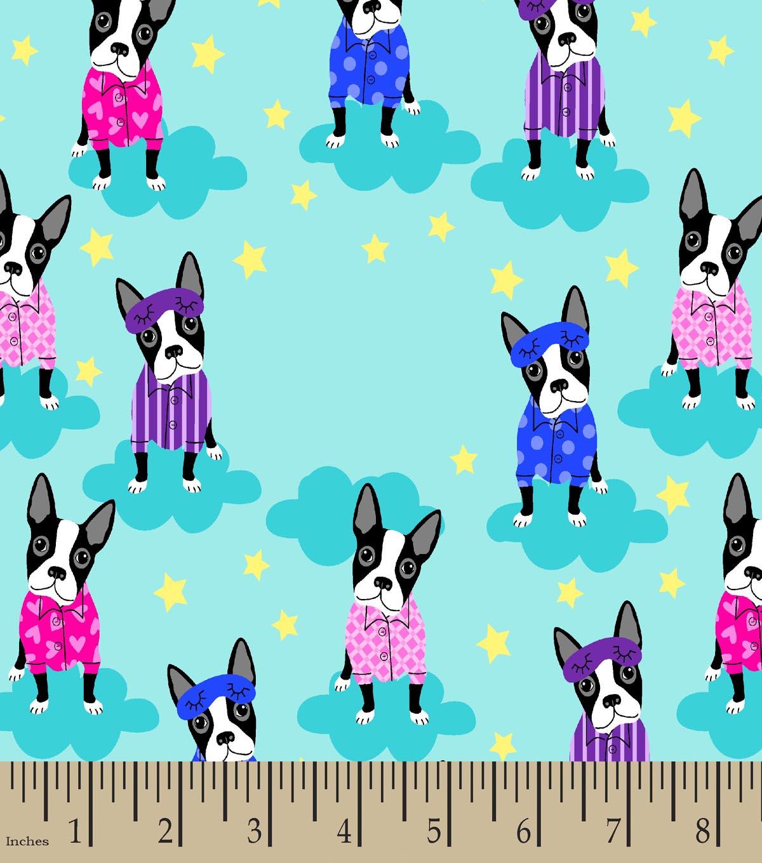 boston terriers in pajamas print fabric - Boston Terrier Outdoor Christmas Decoration