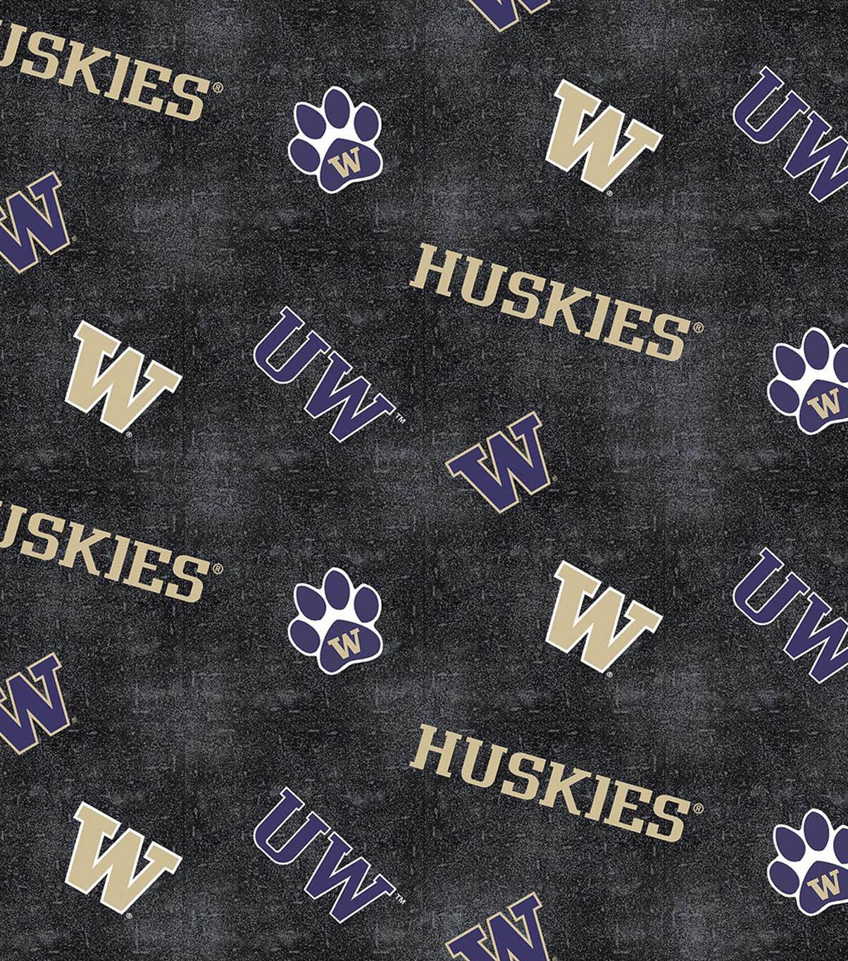 University Of Washington Huskies >> University Of Washington Huskies Flannel Fabric 42 Distressed Logo