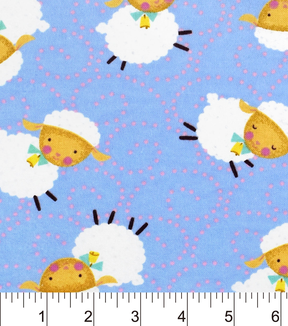Nursery Flannel Fabric -Rhymes Blue Sheep
