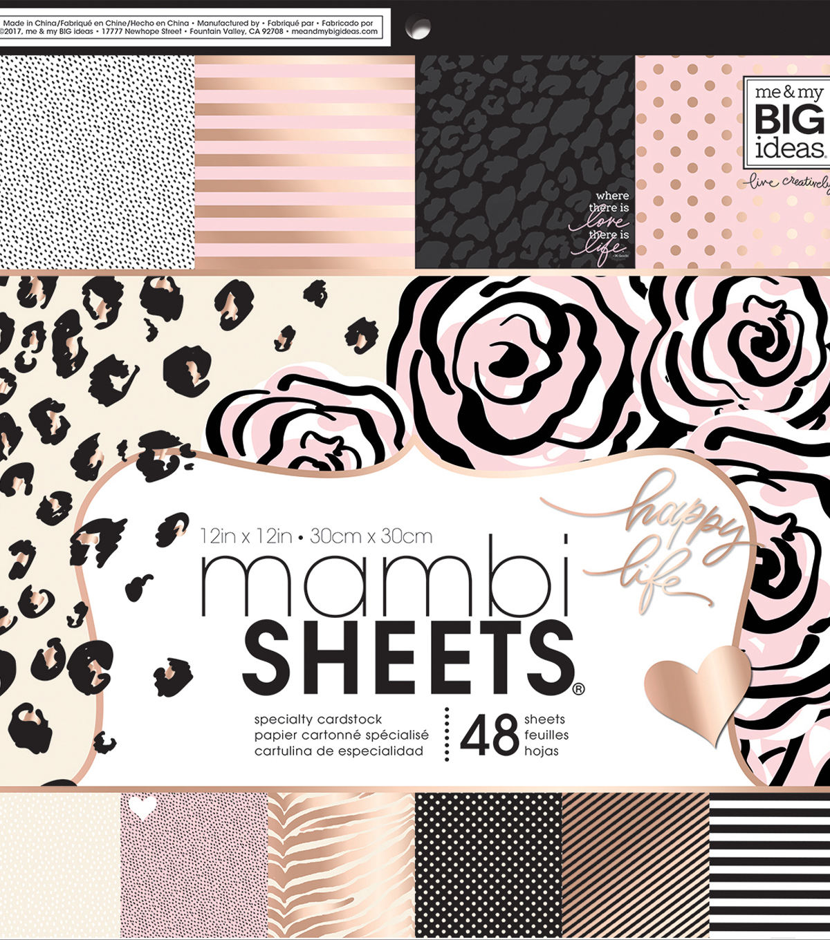 Me & My Big Ideas Mambi Single-sided Paper Pad-Black, White & Rose