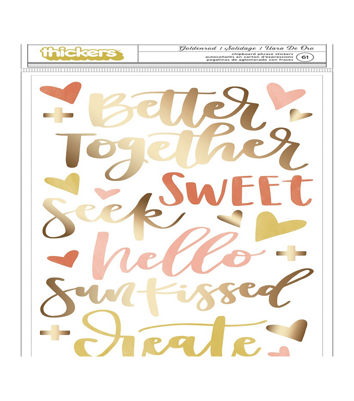 One Canoe Two Goldenrod Thickers Stickers-Phrase/Gold Foiled Chipboard