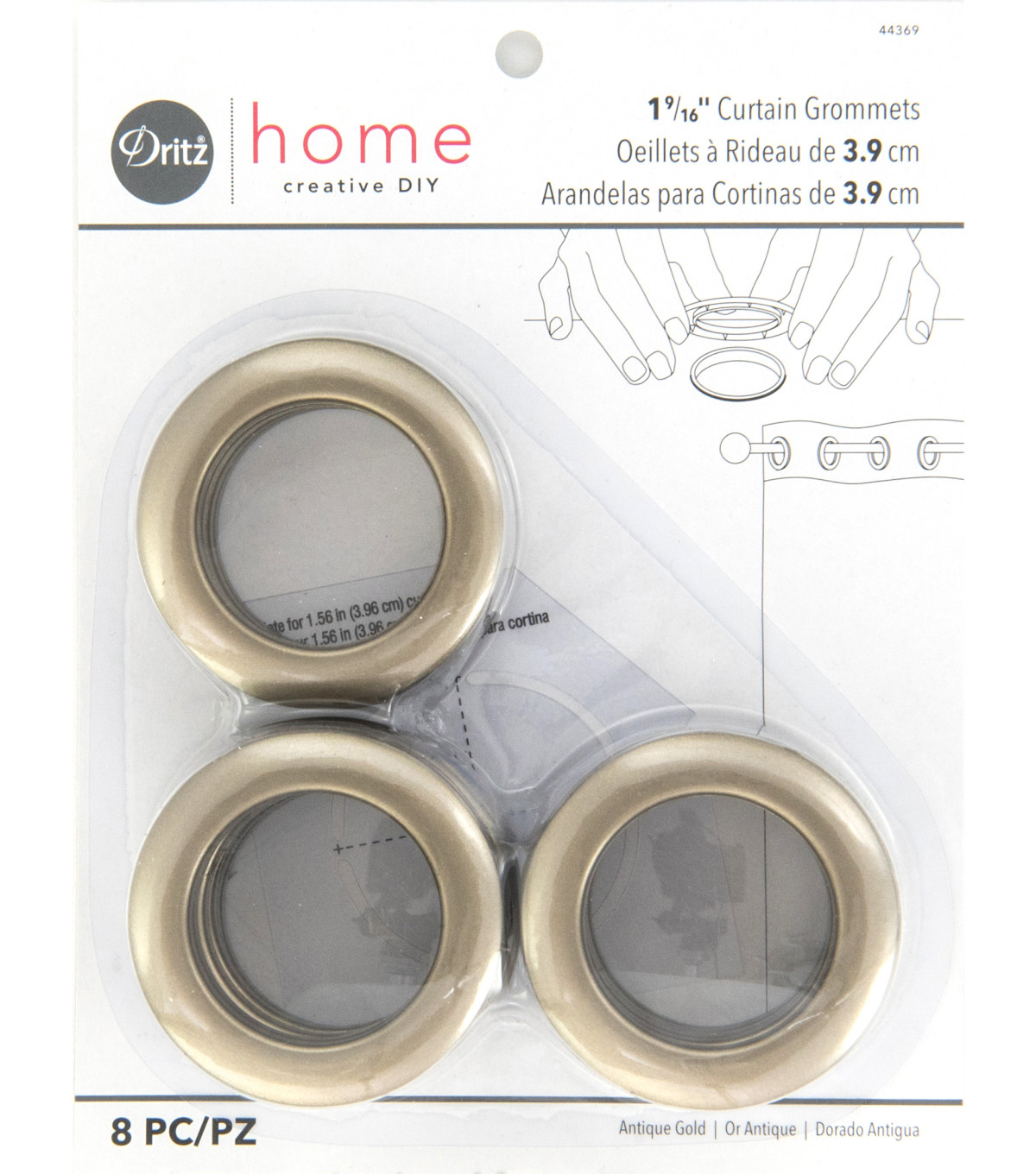 Dritz Home 1.56\u0027\u0027 Curtain Grommets 8pcs Brass, Antique Gold