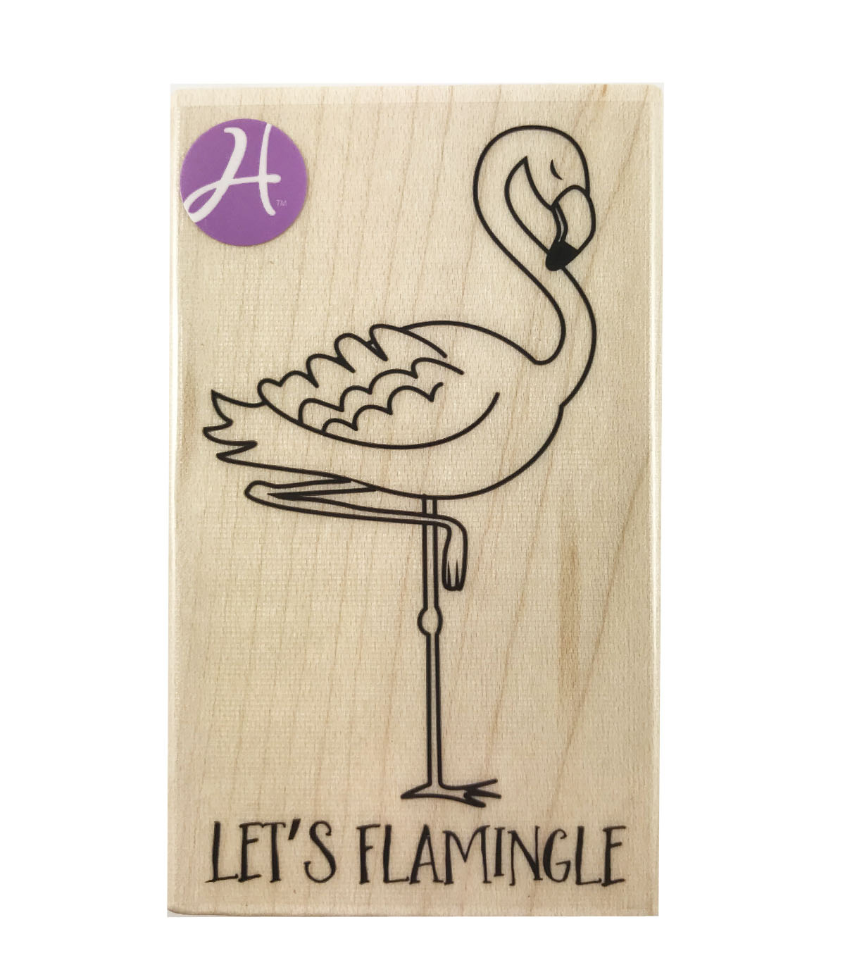 Hampton Art 2\u0022x3.25\u0022 Mounted Stamp-Let\u0027s Flamingle