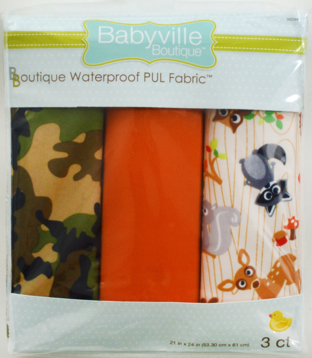 Babyville PUL Fabric 3 pack 21\u0022 x 24\u0022-Camo Orange Forest