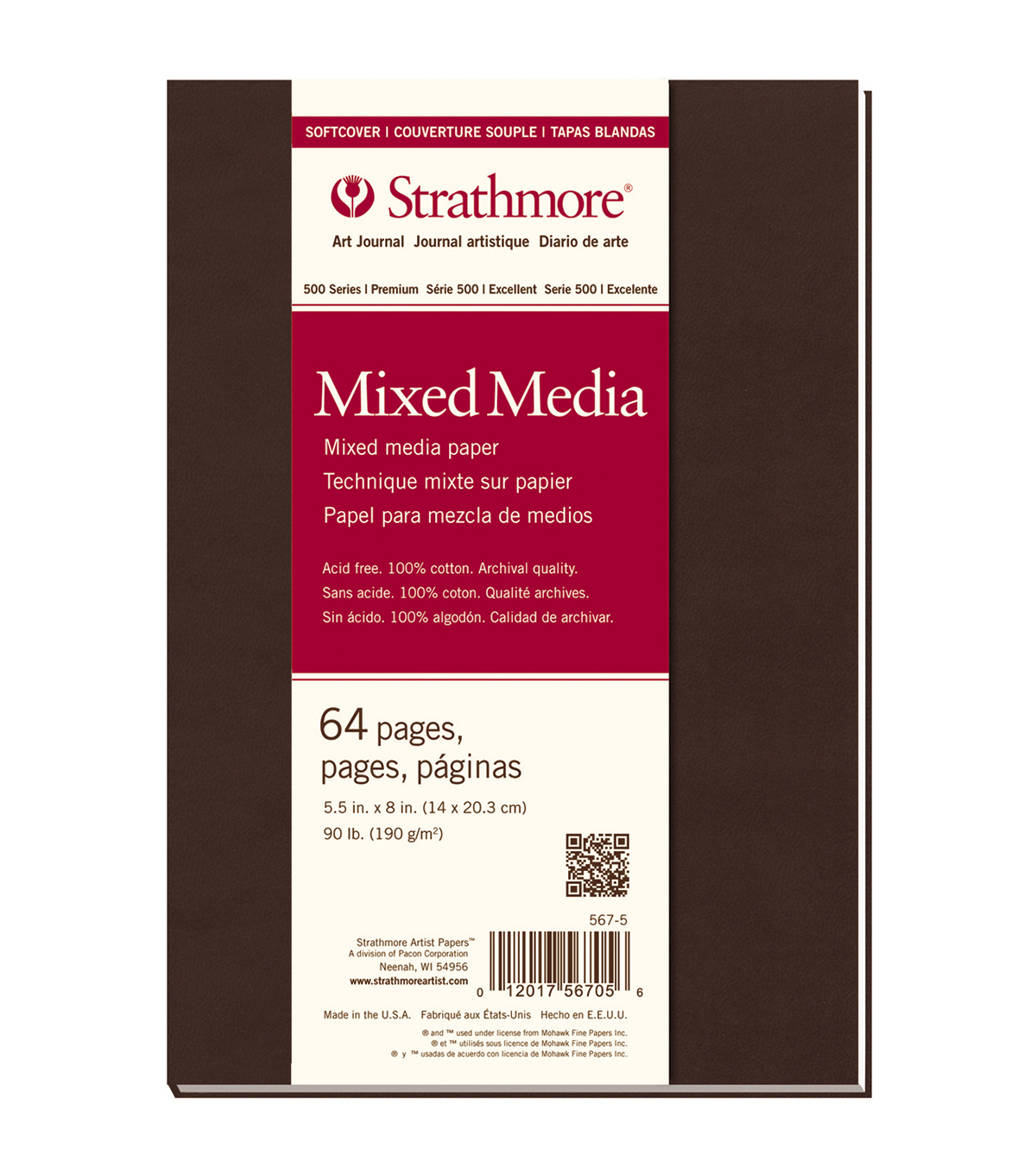 Strathmore Soft Cover Mixed Media Journal Book With 64 Pages 5.5\u0022x8\u0022