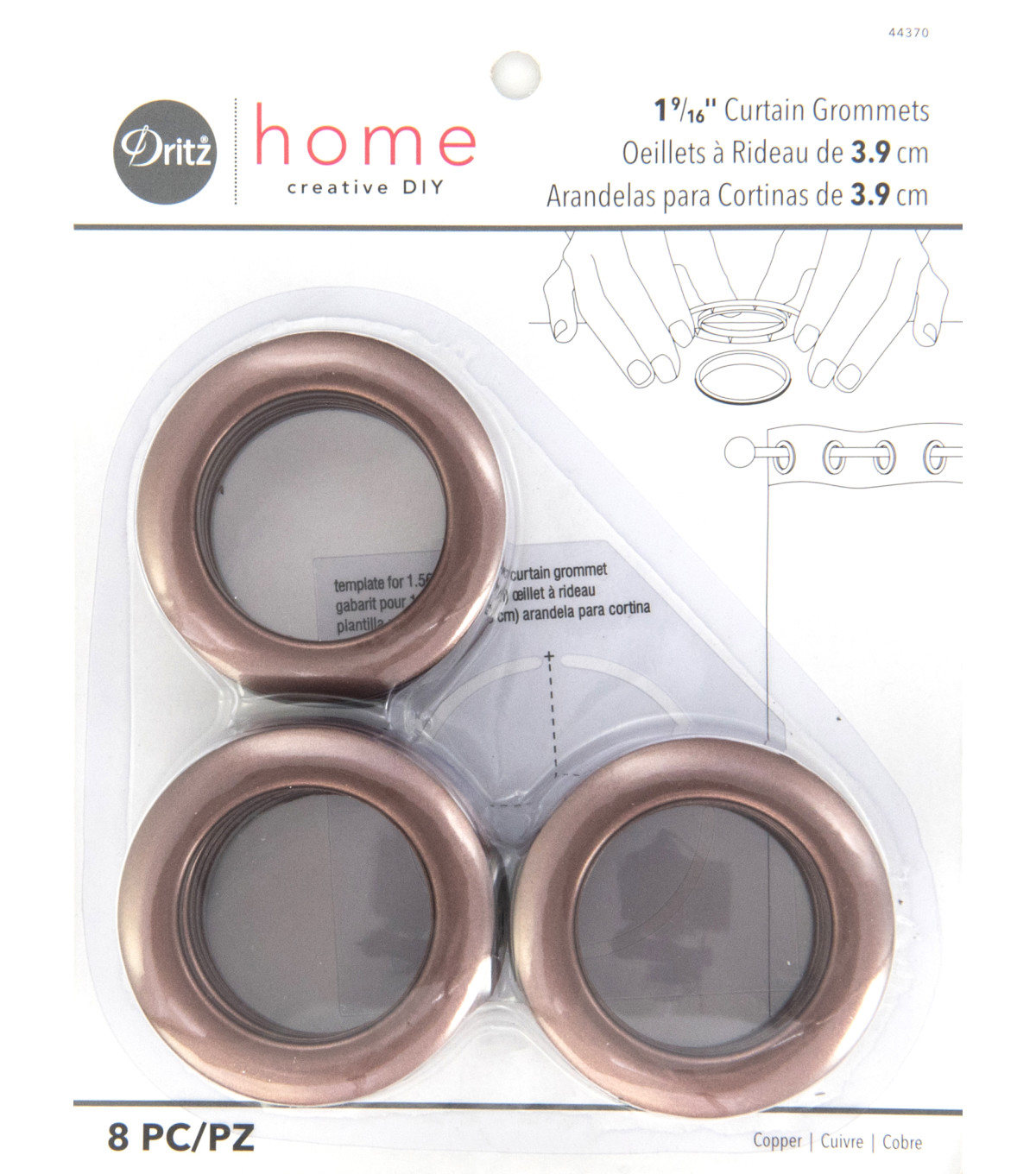 Dritz Home 1.56\u0027\u0027 Curtain Grommets 8pcs Brass, Copper
