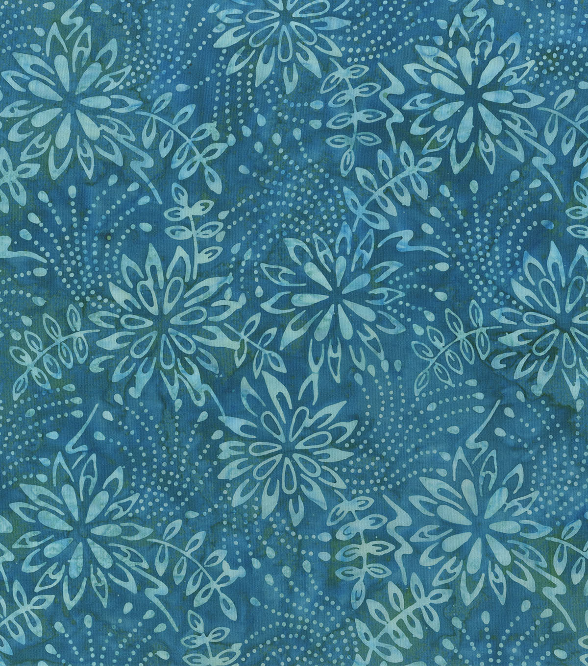 Legacy Studio Indonesian Batiks Cotton Fabric -Teal Florals