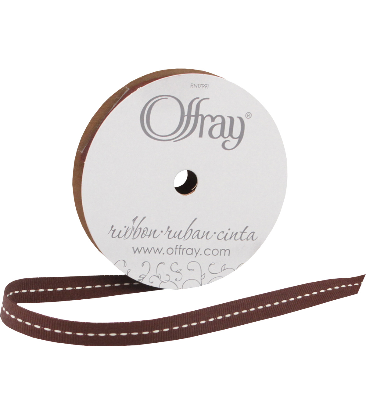 Offray 3/8\u0022x9\u0027 Center Stitch Woven Ribbon-Brown and Tan