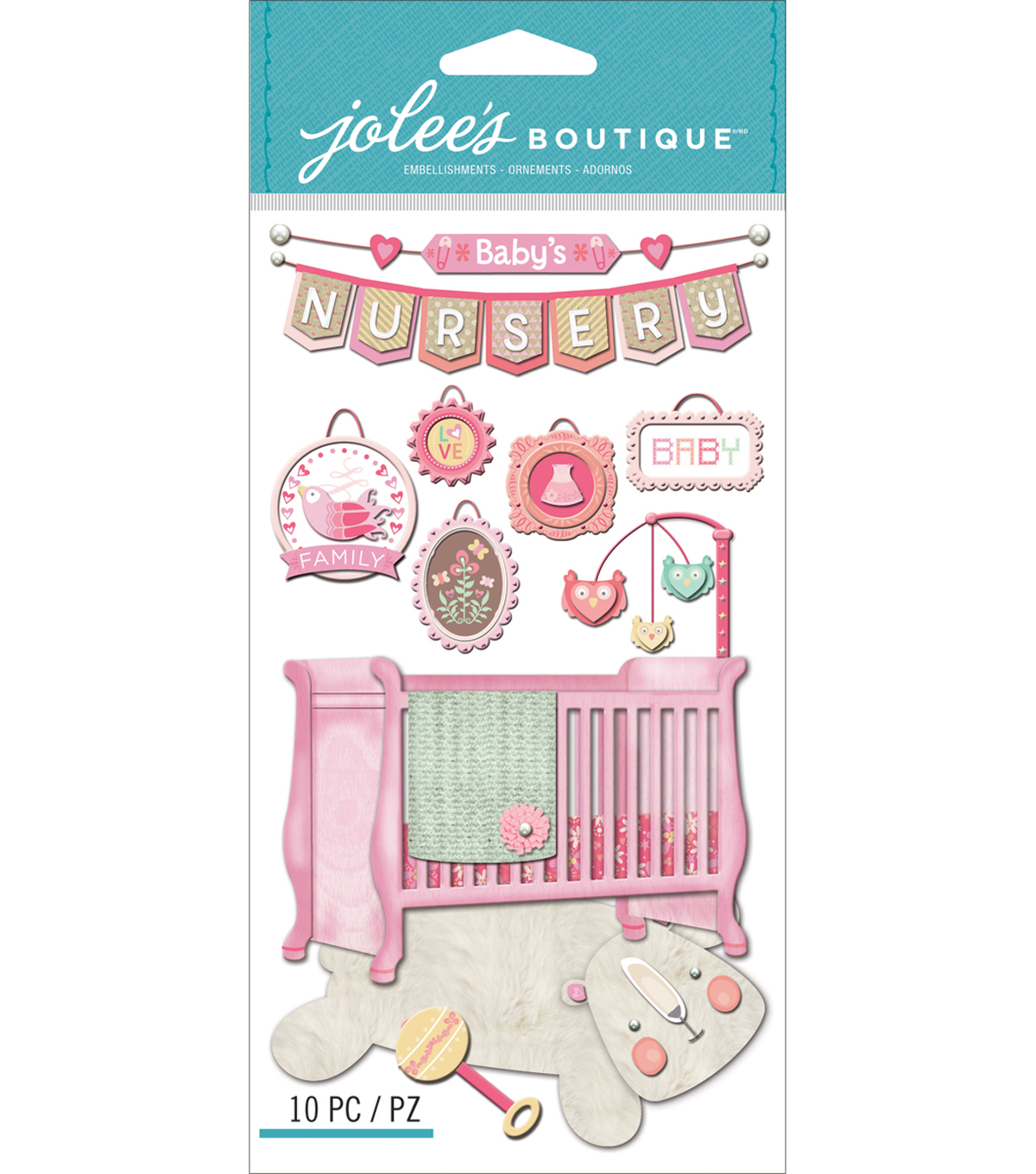 Jolee\u0027s Boutique Dimensional Stickers-Baby Girl - Nursery