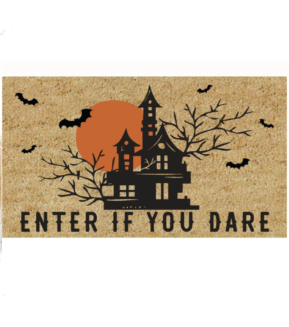 Maker\u0027s Halloween Tufted Coir Mat-Enter if You Dare & House on Natural