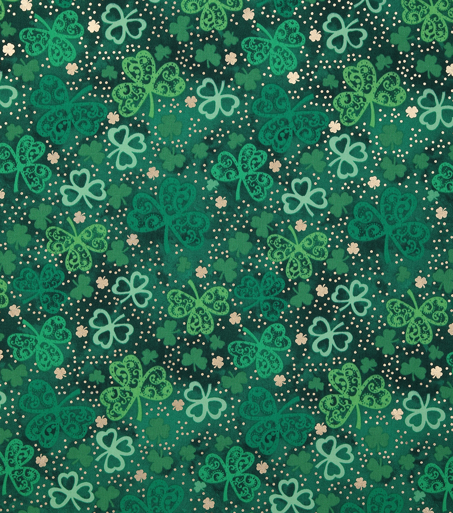 St. Patrick\u0027s Day Cotton Fabric-Paisley Clovers with Foil