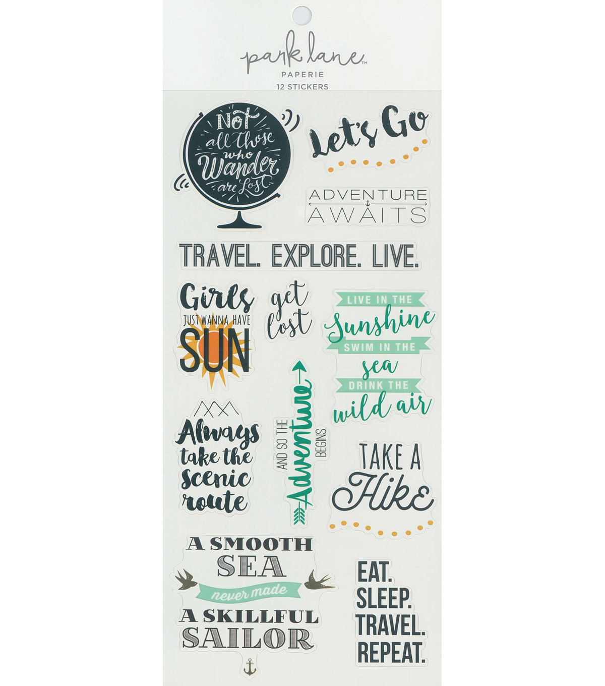 Park Lane Travel Sticker Sheet 12/Pkg