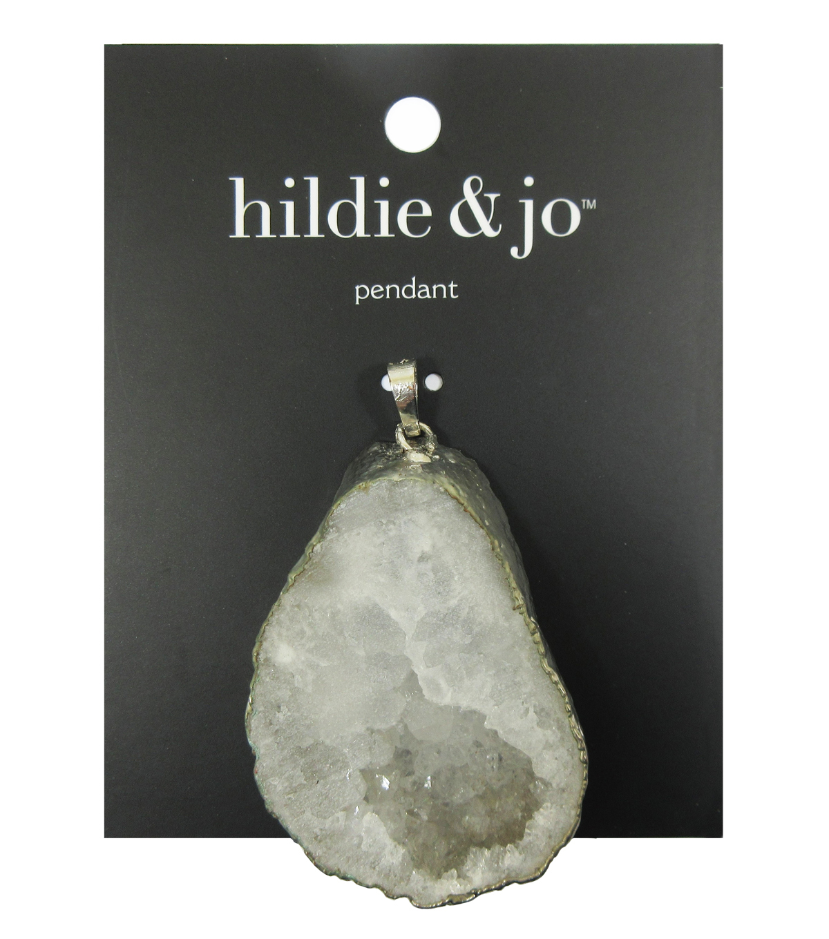 hildie & jo Effortless Charm Silver Pendant-Druzy White