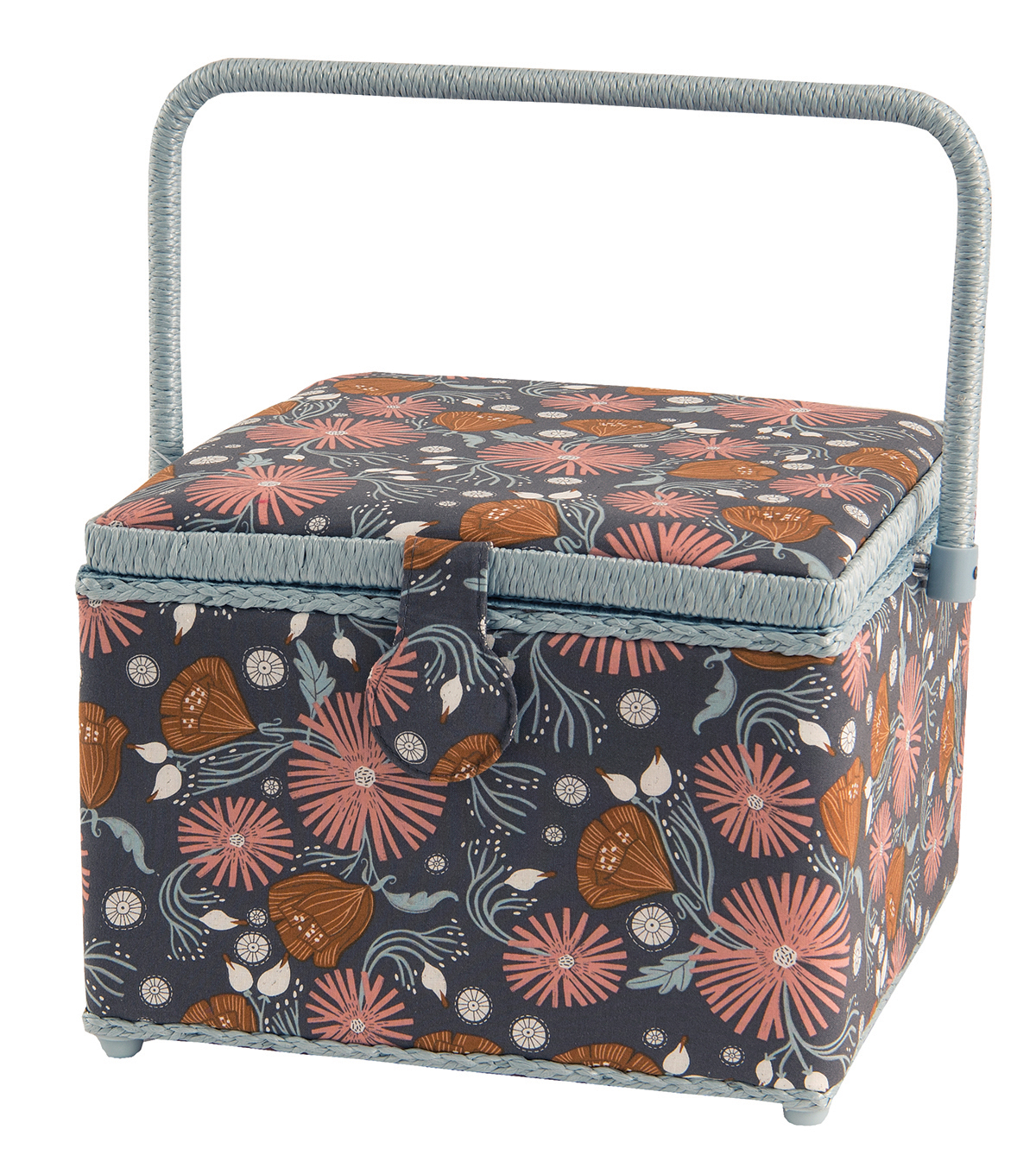 Sewing Basket Large Square-Brown Floral
