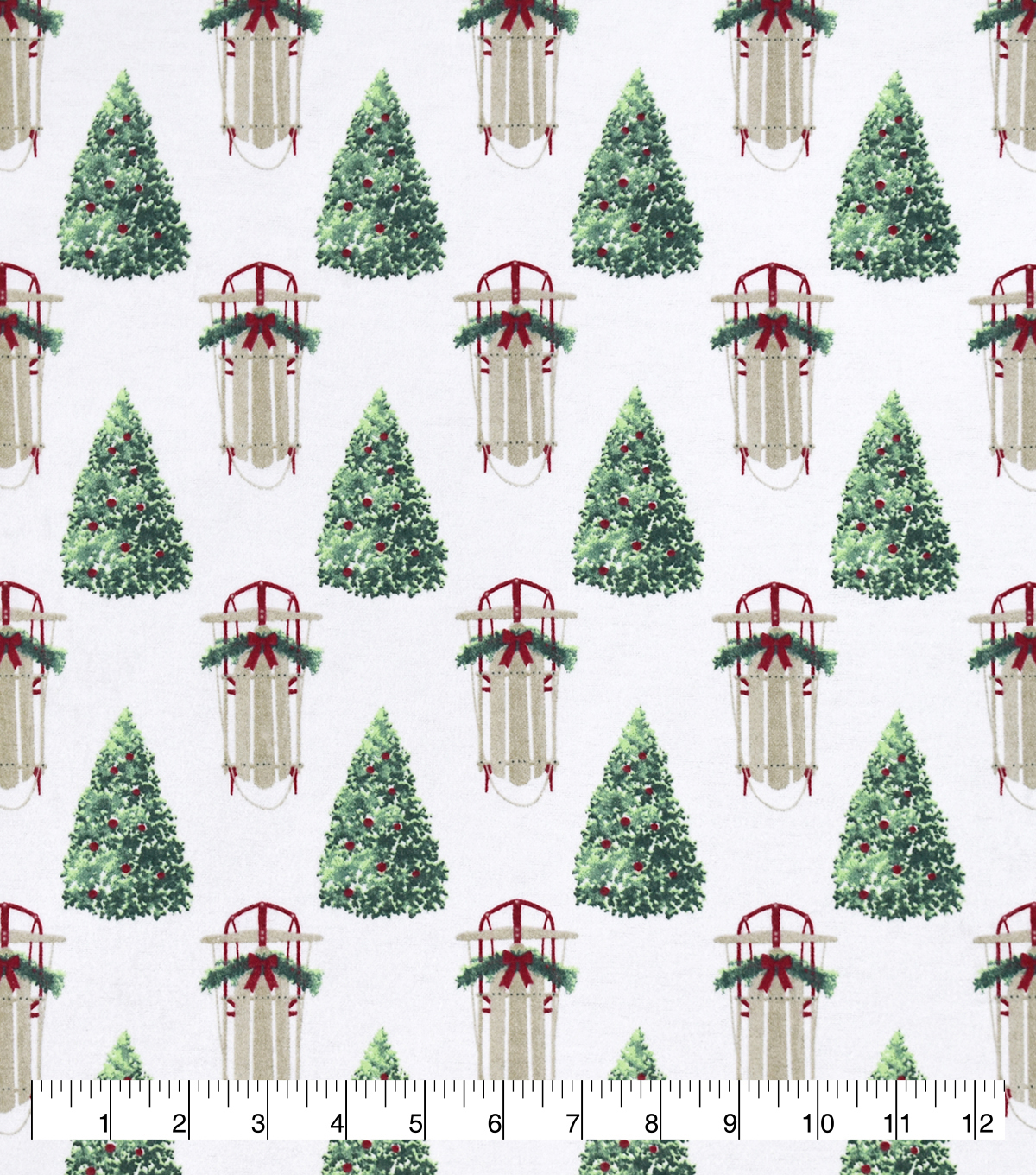 Snuggle Flannel Christmas Fabric-Sleighs & Trees