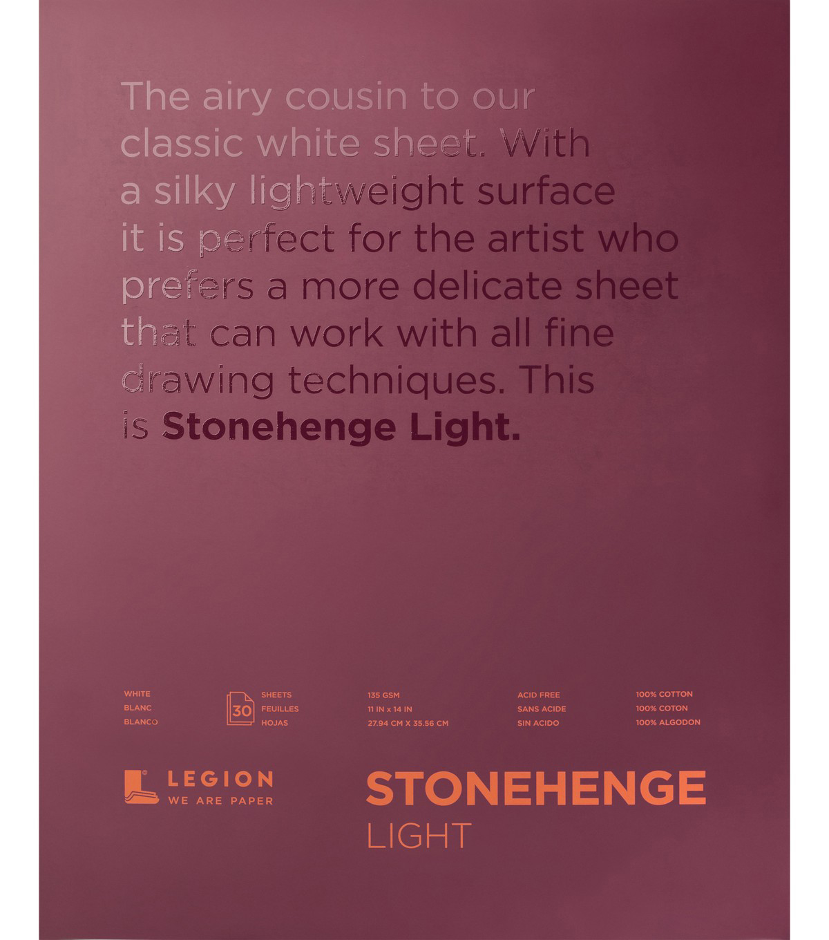 Legion Paper Stonehenge 30-sheet 11\u0027\u0027x14\u0027\u0027 Light Paper Pad-White