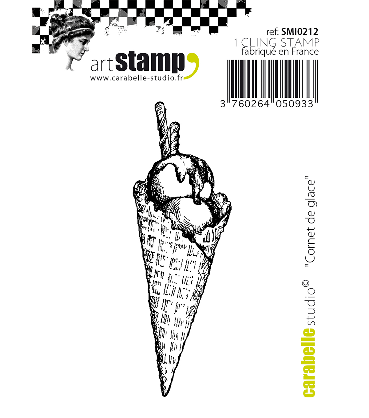 Carabelle Studio Cling Stamp Small 2.76\u0022X.91\u0022-Ice Cream Cone
