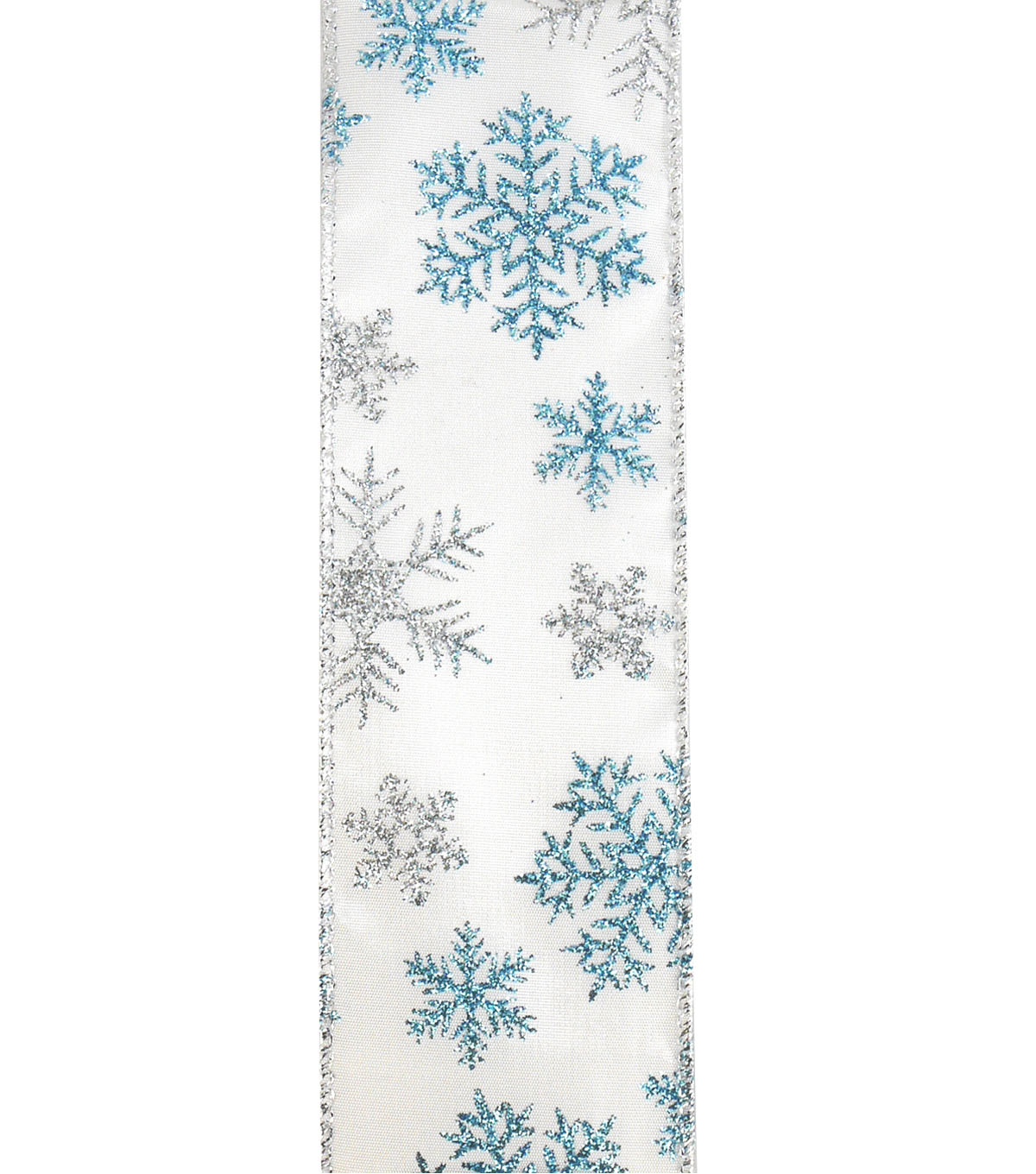 Maker\u0027s Holiday Christmas Ribbon 2.5\u0027\u0027x25\u0027-Blue & Silver Snowflakes