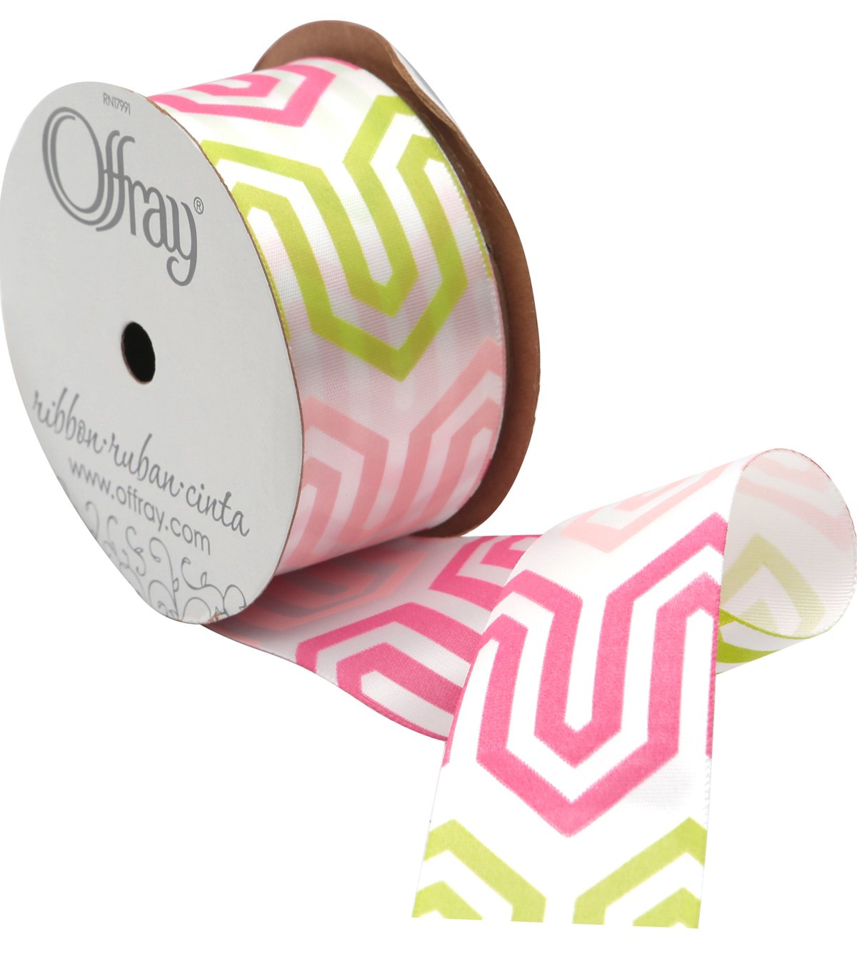 Offray 1.5\u0022 x 9\u0027 Honeysuckle Geo Ribbon-Green/Pink