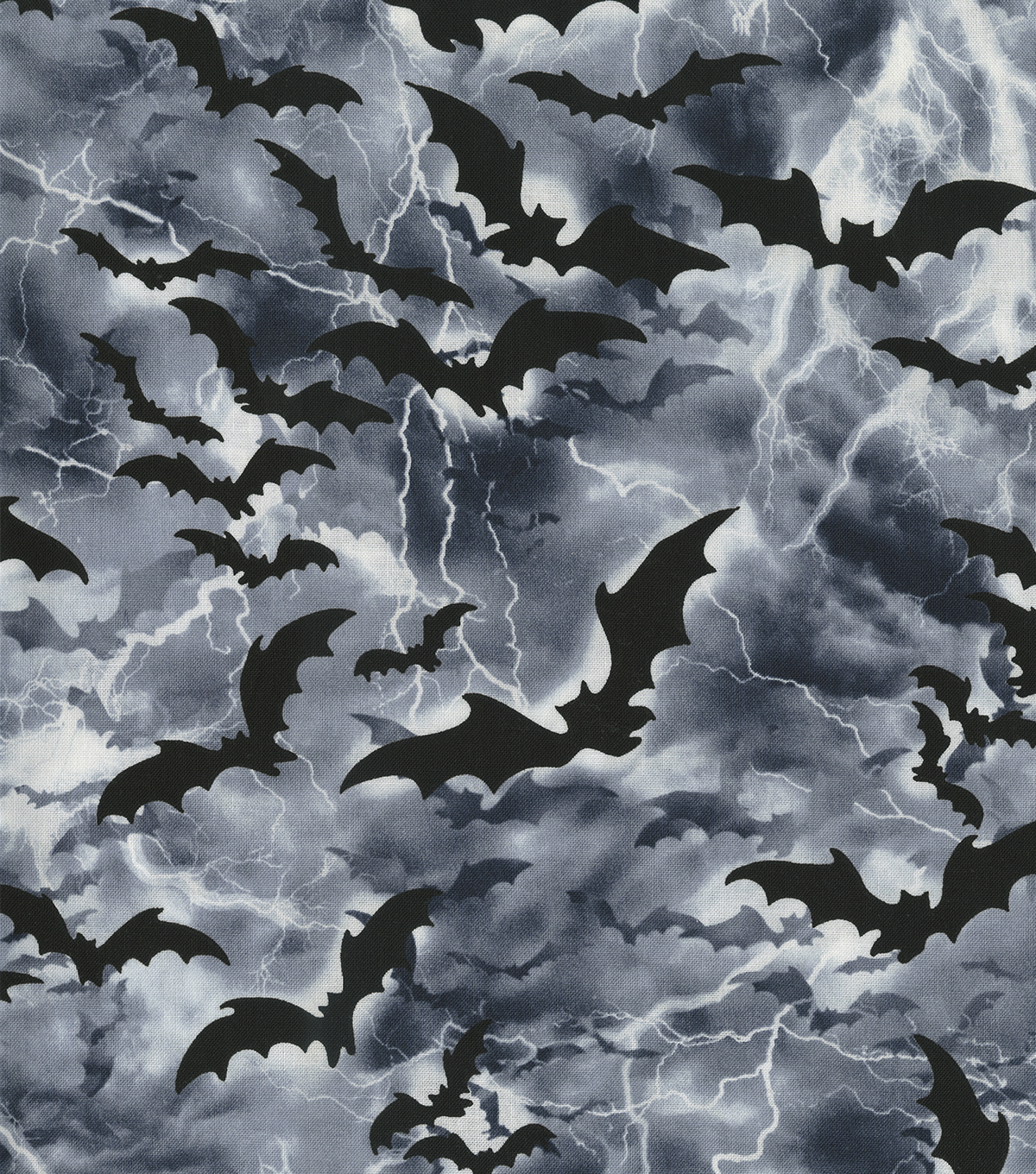 Halloween Cotton Fabric 44\u0022-Flying Bats in Nightime Sky