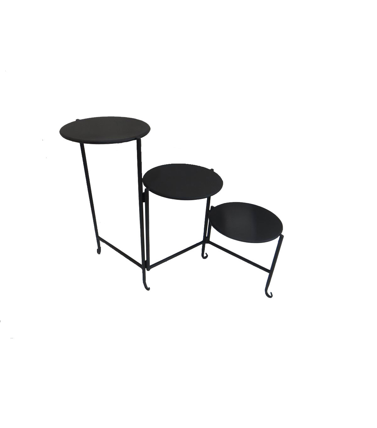 In the Garden Metal Three Level Folding Plant Stand-Black