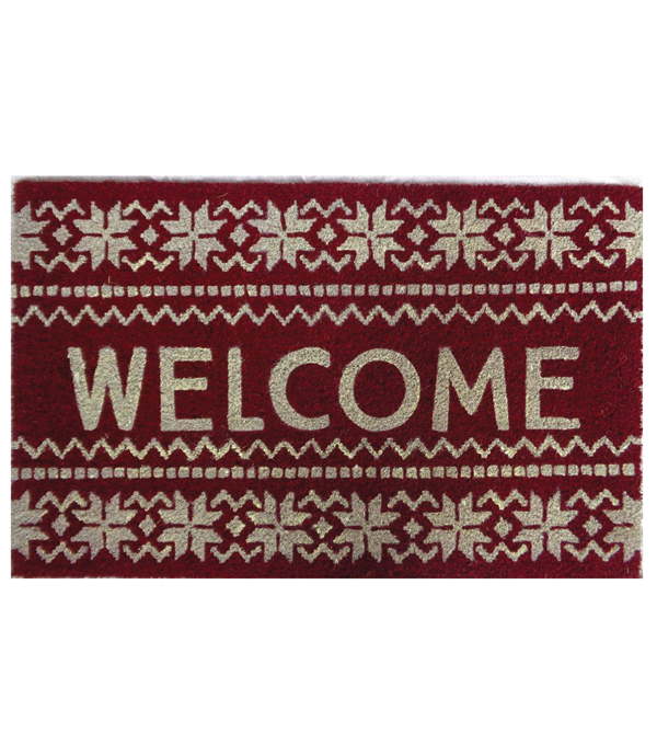 Maker\u0027s Holiday Christmas Coir Mat-Welcome & Fair isle on Red
