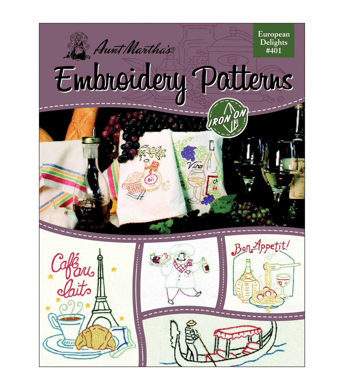 Aunt Martha\u0027s Iron-On Transfer Books- European Delights