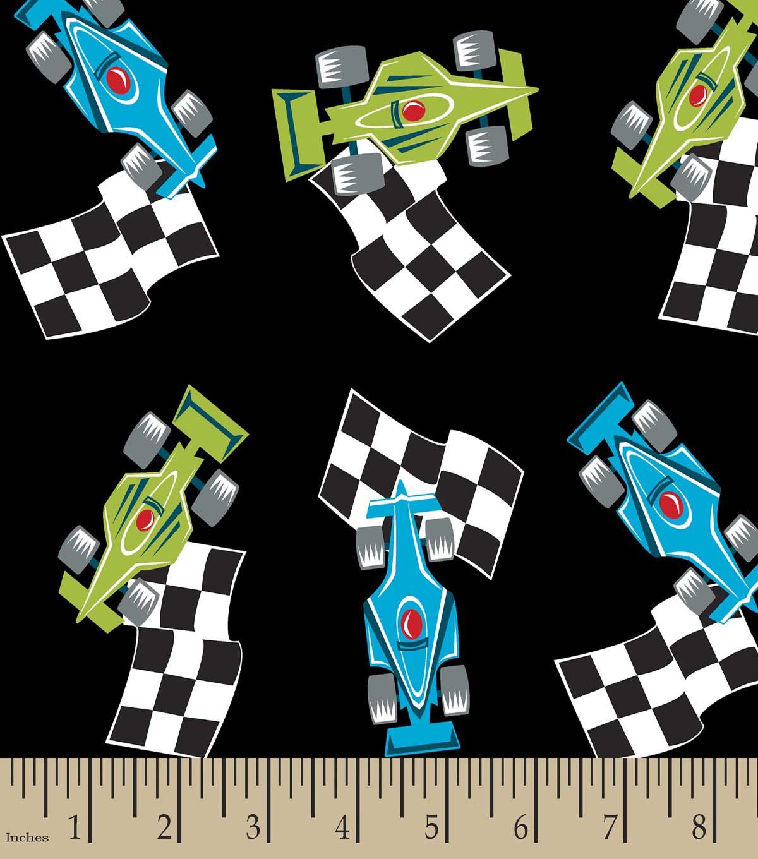 Race Car Print Fabric