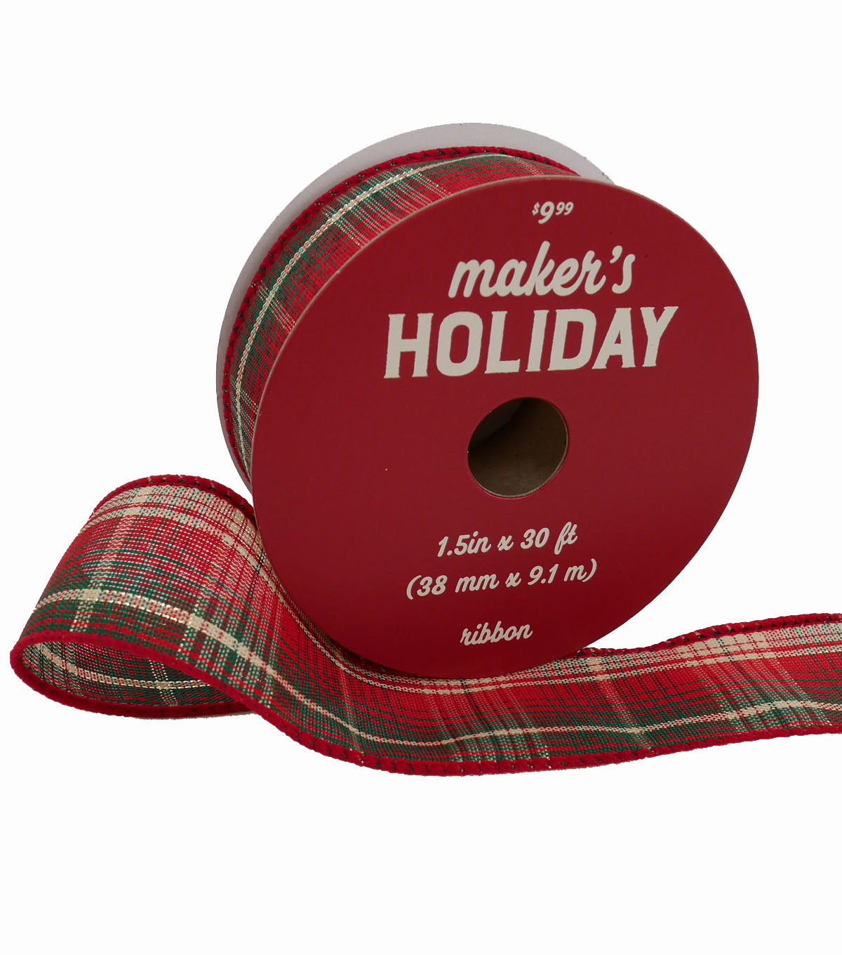 Maker\u0027s Holiday Christmas Ribbon 1.5\u0027\u0027x30\u0027-Red, Green & Ivory Plaid