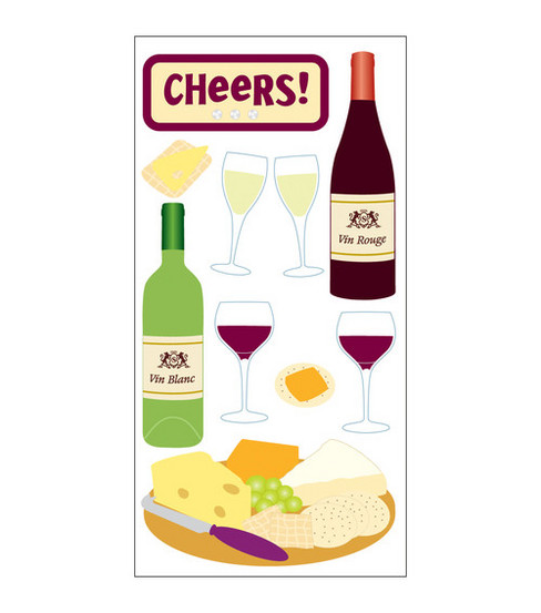 Sandylion Dimensional Stickers-Wine & Cheese