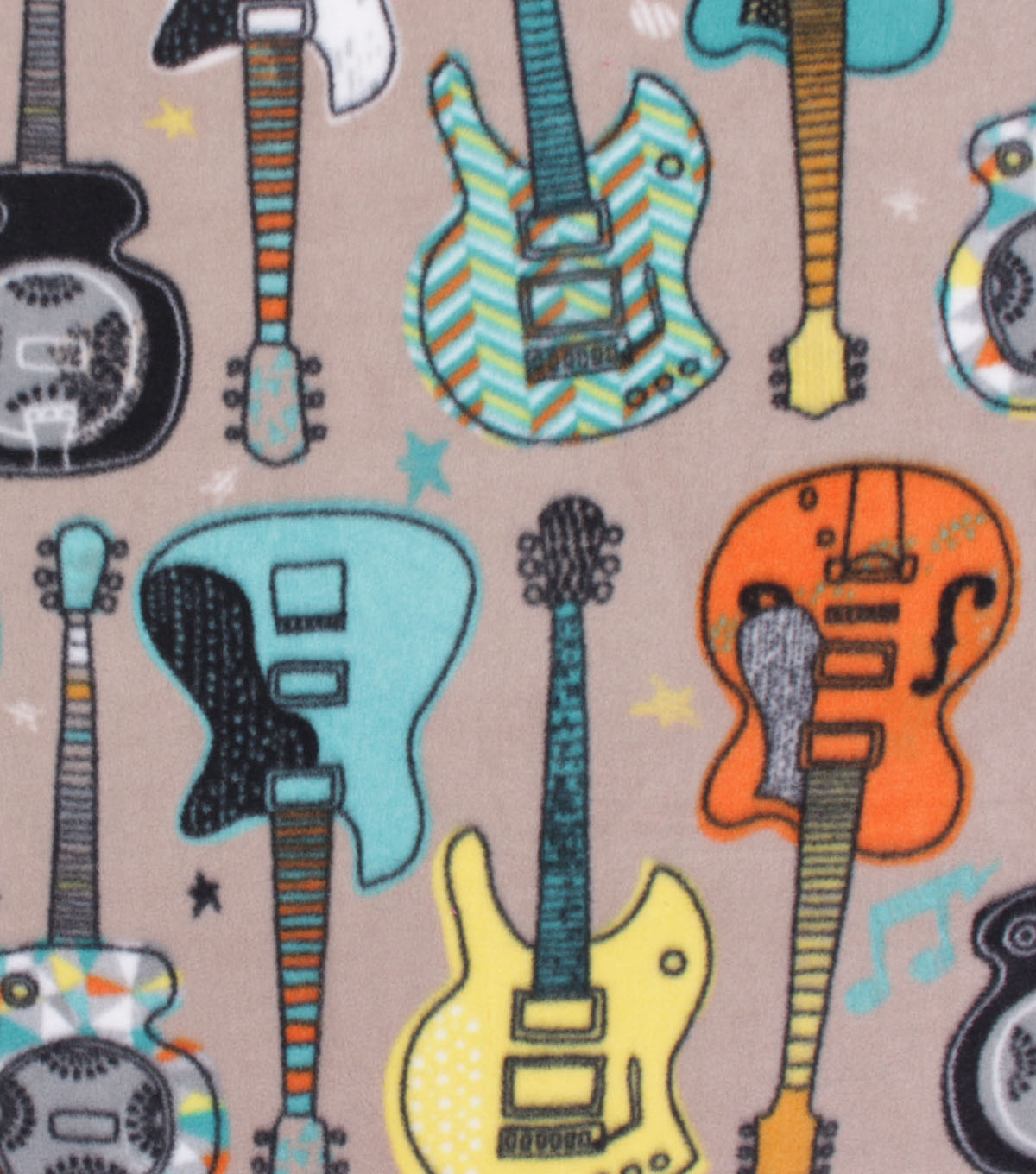 Anti-Pill Plush Fleece Fabric-Guitars on Taupe