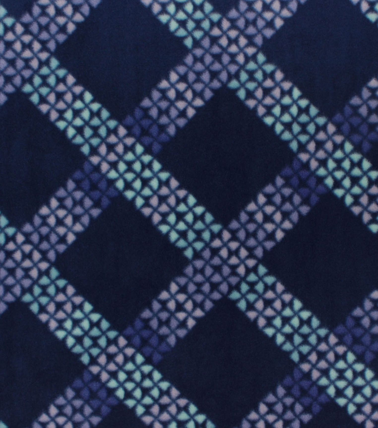 Anti-Pill Plush Fleece Fabric-Blue & Green Lattice