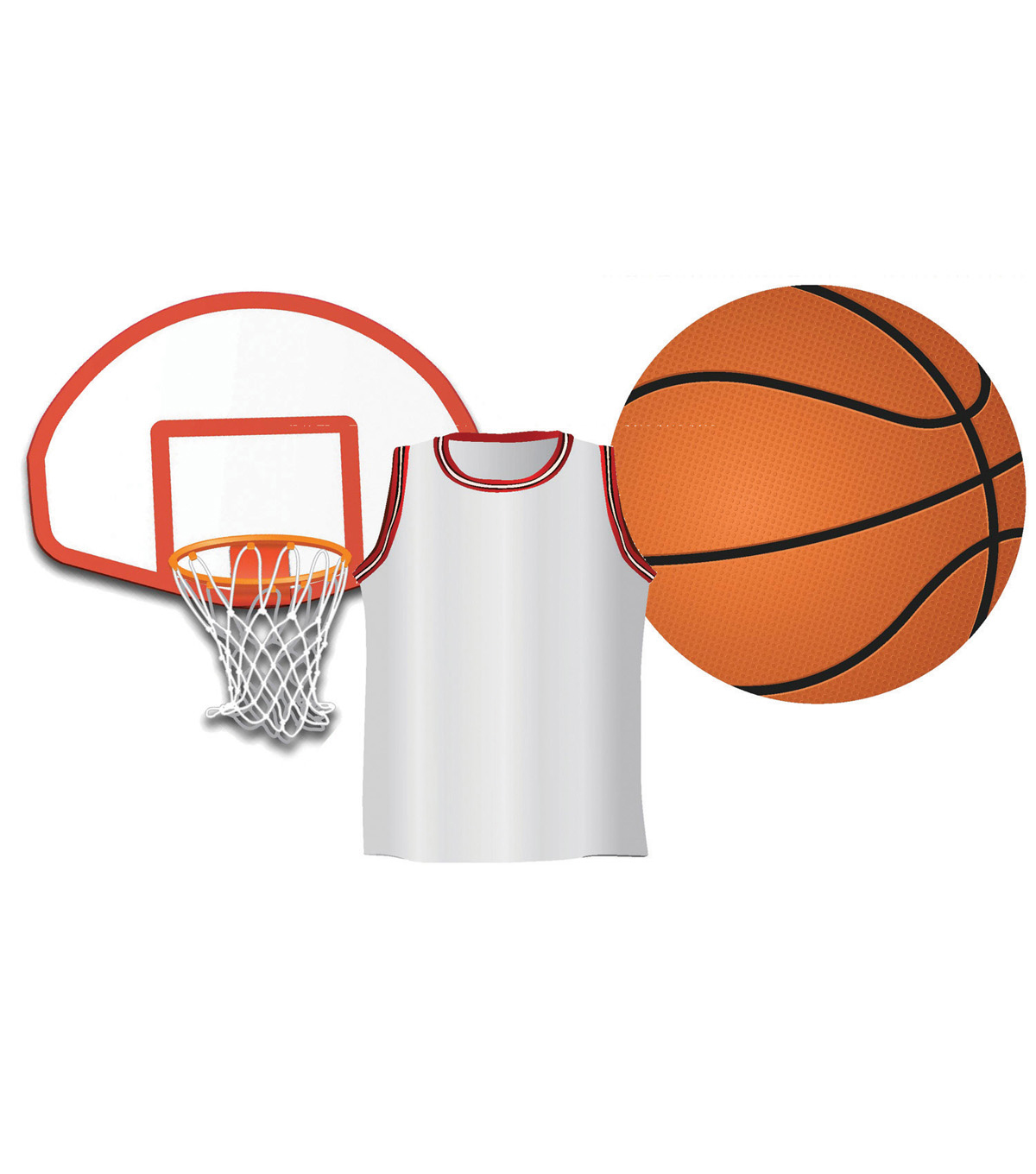 Basketball Assorted Cut Outs 36 pieces/pk, Set of 6 packs