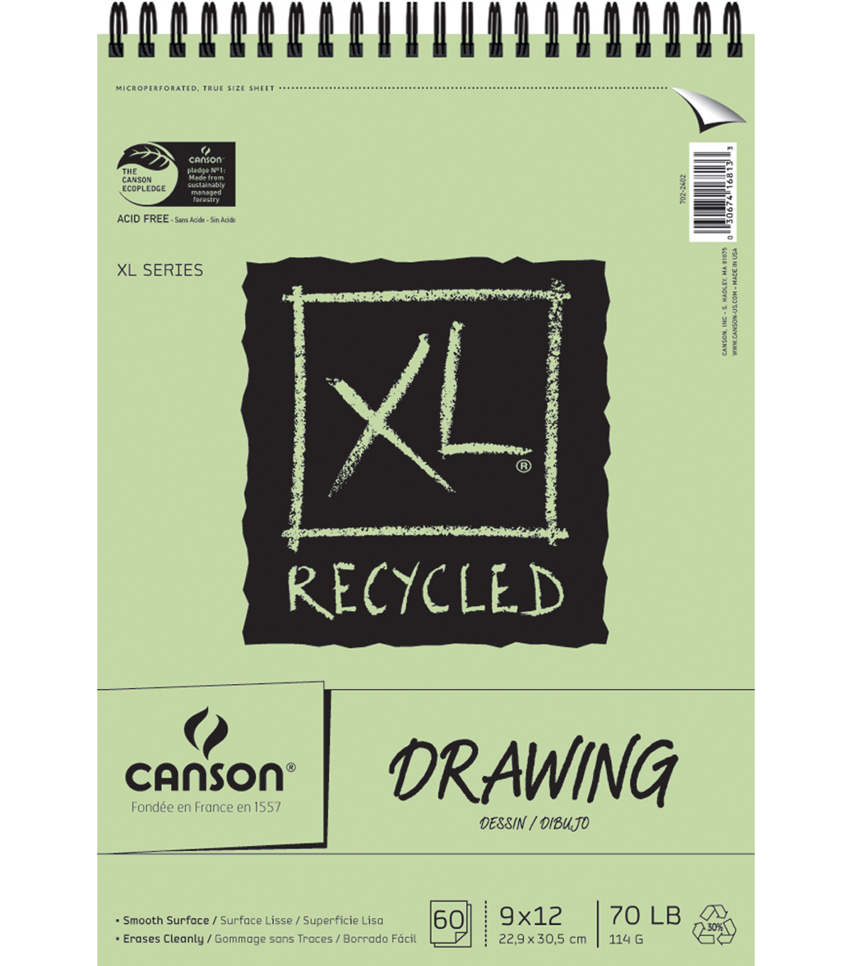 Canson Recycled Drawing Paper Pad 9\u0022X12\u0022