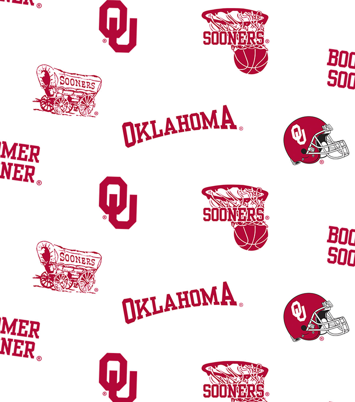 University of Oklahoma Sooners Cotton Fabric 44\u0022-White All Over